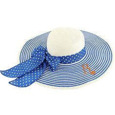 Personalized White Floppy Hat with Stripes & Polka Dots Print