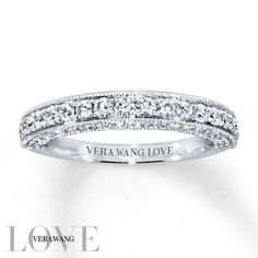 From the Vera Wang LOVE Collection, this exceptional wedding band is alive with round diamonds sparkling along the band and profile. Designed to complement her matching engagement ring (sold separately), the 14K white gold ring has a total diamond weight of 3/4 carat. Diamond Total Carat Weight may range from .69 - .82 carats.