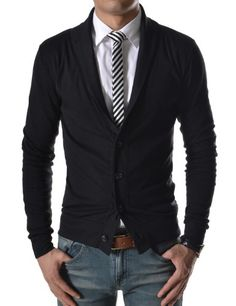 TheLees (GD132) Mens Slim Fit Collar Point Button Cardigan $19.99 (save $8.57)