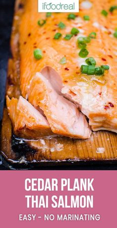 Best BBQ Cedar Plank Salmon Recipe or how to grill salmon on a cedar plank glazed with easy healthy maple Thai sauce that will blow everyone's mind. Yup, we are THAT confident! #cleaneating #healthy #chicken #recipe #recipes #lowcarb #keto