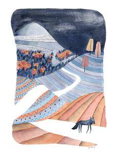 Loup | © Anne-Laure Charlery | Grain de vent | Illustration à l'aquarelle | graindevent.com