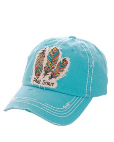 Free Spirit Feathers Distressed Baseball Cap Adjustable 100% Cotton Turquoise #SP #BaseballCap