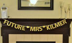 Custom Future Mrs. Glitter Banner : Bridal Shower / Bachelorette Party by Glambanners