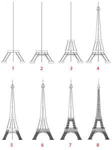 Dessin Tour Eiffel étape par étape