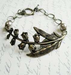 Lily of the valley bracelet brass nature jewelry