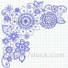Hand-Drawn Sketchy Flowers Notebook Doodle Vector Illustration by blue67design, via Flickr