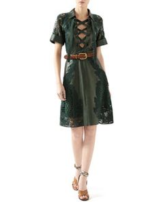 B2W9G Gucci Leather Dress With Broderie Anglaise Detail