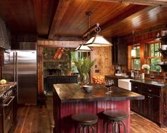 Love for a cabin--Kitchen Cabin Design, Pictures, Remodel, Decor and Ideas