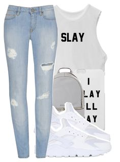 """I Slay All Day"" by chynelledreamz ❤ liked on Polyvore featuring MICHAEL Michael Kors and NIKE"