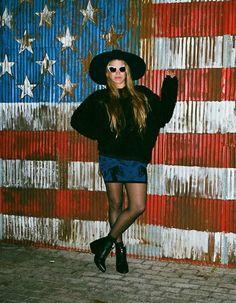 Custo Barcelona  Skirt, Lack Of Color Hat, River Island Sunglasses, Public Desire  Boots