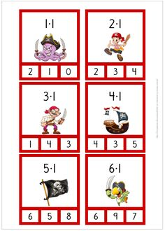 Multiplikationskort med sjörövartema i tabellerna 1-10. Counting Activities, Work Activities, Math Games, Free Teaching Resources, Teaching Math, Montessori, Math School, Math For Kids, Kids Learning