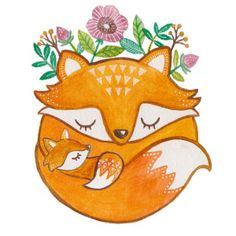 Mother and baby fox print by artandsoulcreativeco on etsy Art Fox, Fuchs Baby, Fuchs Illustration, Garden Illustration, Baby Animals, Cute Animals, Art Mignon, Baby Drawing, Drawing Art