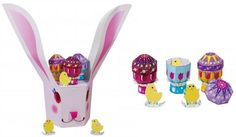 Easter Celebration - Bunny Egg Holder Papercraft - by Canon - == -  This papercraft model is a box patterned after the Easter Bunny. Remove the top of the box to use as a storage bin. The model also features an egg holder, featuring eggs that break into two to reveal chicks inside. - Canon