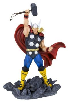 """Kotobukiya Classic Avengers Thor Fine Art Statue by Kotobukiya. $190.30. A Kotobukiya Japanese import. Rock base matches those of upcoming Captain America and Iron Man statues from the series. Stands nearly 13-1/2"""" height. Sculpted by Erick Sosa. Recreates the classic look of Marvel Comics' God of Thunder. From the Manufacturer                A Kotobukiya Japanese import. The mighty Thor is back and better than ever. In 1962 comic book mastermind Stan Lee set out to create a ne..."""