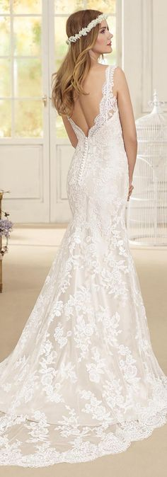 V-neck lace Wedding Dress by Fara Sposa 2017 Bridal Collection
