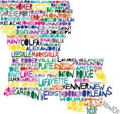 LOUISIANA Digital Illustration Print of Louisiana State with Baton Rouge New Orleans. $15.00, via Etsy.