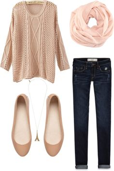 I don't like the chunky cables in the sweater at all, or the shape of the flats. But I do like the contrast of the dark wash jeans and the blush color scarf.