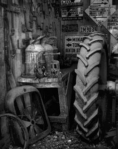 Fine Art Photography, Black and White Prints - tractor tire