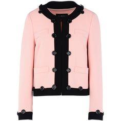 Boutique Moschino Blazer (2,560 MYR) ❤ liked on Polyvore featuring outerwear, jackets, blazers, pink, blazer jacket, long sleeve blazer, boutique moschino, long sleeve jacket and pink blazer