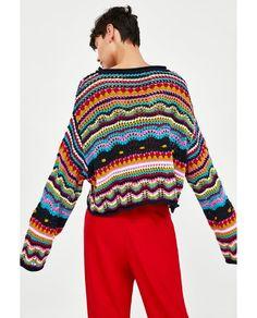 Imagen 5 de JERSEY MULTICOLOR de Zara Zara, Knit Vest, Sweater Cardigan, Jersey Multicolor, Easy Crochet Projects, Fashion Photography Inspiration, Red Fashion, Striped Knit, Sweater Weather