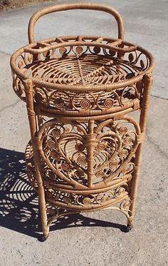 Antique Rattan Tea Cart Wicker Hearts Design Rolling Adorable | eBay