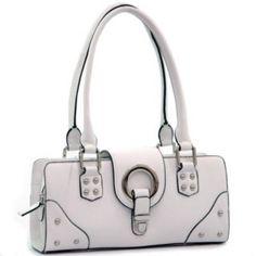 Women inspired soft shoulder bag front flap white