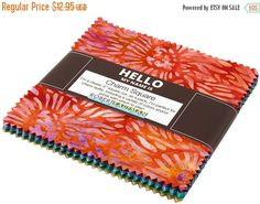 "Anniversary Sale Tigerfish Batik~McKenna Ryan~Cotton Fabric, , Charm Pack, 5"" squares,Kaufman, Fast Shipping, CP373"