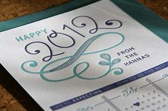 Hand-Lettered Letterpress New Year/Announcement