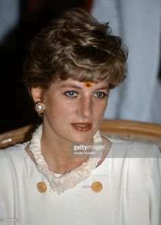 Diana, Princess of Wales visits Hyderabad wearing a traditional bindi mark on her forehead on February 14, 1992 in Hyderabad, India.