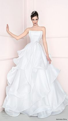 antonio riva 2016 bridal dresses straight across neckline tiered wedding ball gown dress cprov