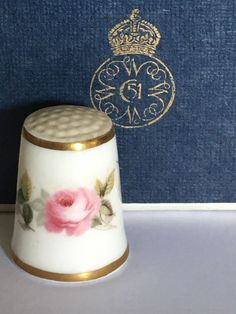 FINGERHUT Thimble Porzellan Porcelain Royal Worcester White & Pink Rose  | eBay
