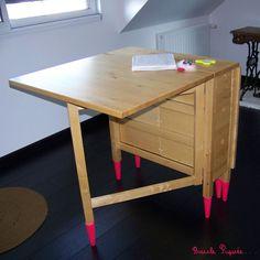 new ideas for sewing table diy ikea desks Diy Sewing Table, Diy Table, Fabrication Table, Coin Couture, Couture Sewing, Ikea Desk, Ikea Storage, Ikea Furniture, Furniture Ideas