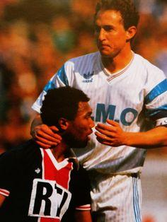 Jean-Pierre Papin et Antoine Kombouaré. PSG-OM. Coupe de France 1991.