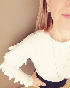White blouse with frills!