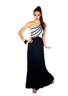 Monochrome One Shoulder Prom Dress by PDUK at prom-dresses-uk.com