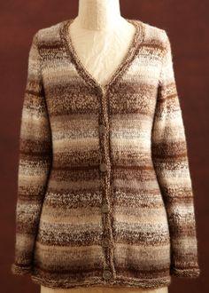 Free Knitting Pattern - Women's Cardigans: Heather Brown Cardigan
