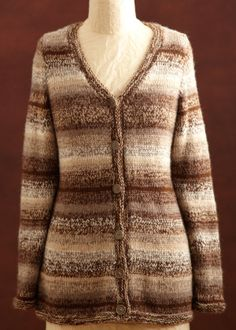 Free Knitting Pattern - Women's Cardigans: Heather Brown Cardigan