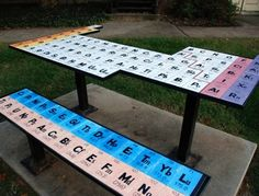 Periodic table picnic table and bench