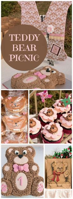 How cute is this teddy bear picnic party? See more party ideas at CatchMyParty. Picnic Birthday, 1st Birthday Girls, 2nd Birthday Parties, 1st Birthday Cakes, Birthday Ideas, Baby Shower Oso, Teddy Bear Baby Shower, Teddy Bear Cakes, Teddy Bear Birthday Cake