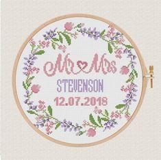 flowers  wedding  cross stitch pattern modern, lavender, Personalized wedding gift, Mr & Mrs, Printa