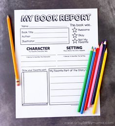 Free Printable Book Report Form at artsyfartsymama.com
