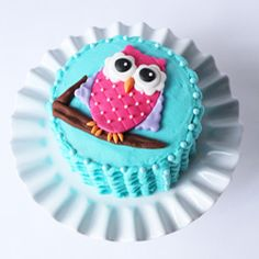 """Smash cake for 1st birthday!  6"""" double layer chocolate cake with butter-cream frosting and fondant owl. {no recipe}"""