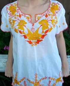 golden yellow + orange [embroidered shirt]
