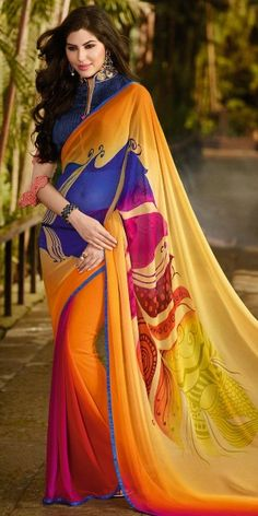 Legendary Orange And Multi-Color Georgette Saree.
