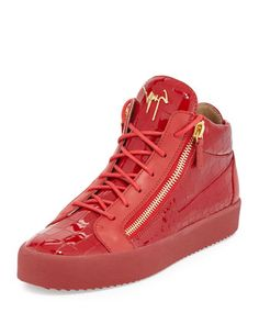Men\'s Crocodile-Embossed Leather Mid-Top Sneaker, Red by Giuseppe Zanotti at Neiman Marcus.
