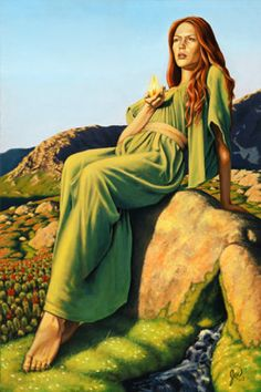 In addition to her position as a goddess of magic, Brighid was known to watch over women in childbirth, and thus evolved into a goddess of hearth and home. Today, many Pagans and Wiccans honor her on February 2, which has become known as Imbolc or Candlemas. 6a00d8345159c669e20120a77b7b67970b-pi (250×375)
