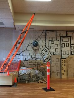 Demolition zone and wrecking ball Construction Theme Classroom, Under Construction Theme, Construction Crafts, Construction Birthday, Church Nursery Decor, Playroom Decor, Stall Decorations, Kids Church Rooms, Vbs Crafts