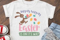 FREE Hippity Hoppity Cute Easter Design Cut File for Cameo   Etsy Sayings For Wine Glasses, All Silhouettes, Easter Quotes, Workout Humor, Silhouette Designer Edition, T Shirts With Sayings, Christmas Humor, Svg Cuts, School Design