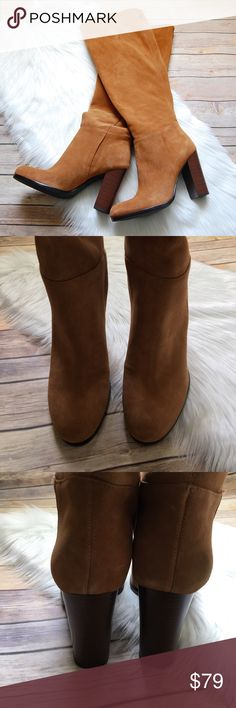 """SAM EDELMAN 'Victoria' Slouchy Boots A tall, stacked heel brings a fresh, contemporary look to a lush suede boot in a classic knee-high silhouette. Wear it slouched for a cool, casual look. Color is camel/tan. 4"""" heel (size 8.5) 18"""" shaft; 16"""" calf circumference. Pull-on style Leather upper and lining/synthetic sole  Brand new. No box.  Instagram: @bringingupsuns Sam Edelman Shoes Heeled Boots"""
