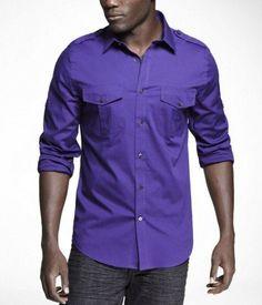 9091fcacf Mens Military Style Purple Express Shirt sz Medium  fashion  clothing   shoes  accessories